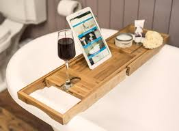 bamboo wooden over bath tray caddy rack shelf tablet phone wine glass holder