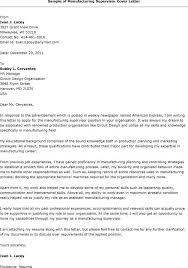 Sample Cover Letter For Production Supervisor Position