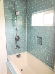 Fancy Freestanding Shower Tub Feat White Rectangular Standart Bathtub And  Blue Subway Tile As Small Guest Bathroom Decors Ideas