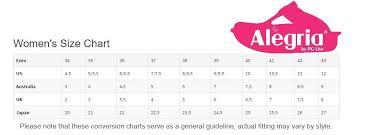 Alegria Size Chart Size Chart Alegria Shoes