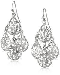 jewelry brass filigree teardrop chandelier diamond earrings bridal