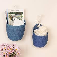 wall mounted wicker basket