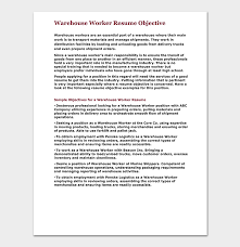 Warehouse Worker Resume Template Free Samples Examples