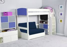 bed with sofa underneath bunk beds with desk and sofa