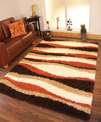 burnt orange and brown living room. Shaggy Rug Thick Soft Warm Terracotta Burnt Orange Cream Brown Small Large New And Living Room R