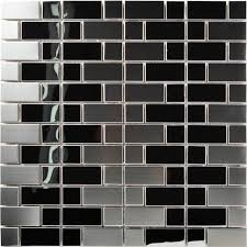 TST Stainless Steel Mosaic Tile Silver Mirror Glass Tiles Stainless
