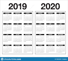 Template For 2020 Calendar Year 2019 2020 Calendar Vector Design Template Stock Vector