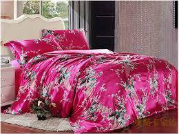 pea feather print hot pink silk bedding set for king queen full twin size duvet cover