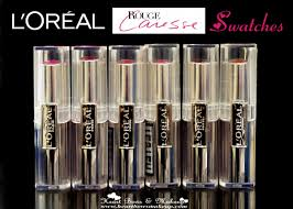 loreal rouge caresse lipstick swatches review india