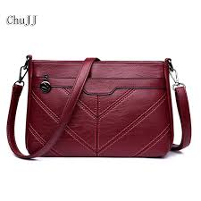 chu jj high quality women s genuine leather handbags all match thread shoulder cross bags messenger