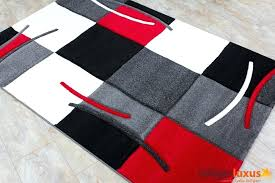 red and white rug blue
