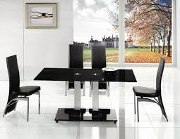 black glass extendable dining table and 6 chairs