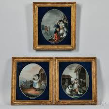 three reverse paintings on glass