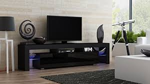 TV Stand MILANO 200 Black Body  Modern LED Cabinet Living Room Furniture