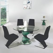 Creative Matinee Round Glass Dining Table Set Unique Green Acrylic Spiral  Base Black Leather Upholstered Chairs
