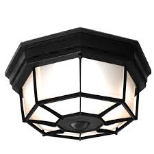 flush mount exterior light. Secure Home 11.9-in W Black Motion Activated Outdoor Flush-Mount Light Flush Mount Exterior E