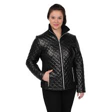 excelled women s leather diagonal quilted scuba jacket