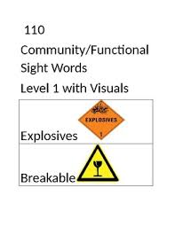 Functional Words List Community Functional Sight Word Flash Cards