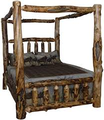 Amazon.com: Rustic Aspen Log Queen Canopy Bed: Kitchen & Dining