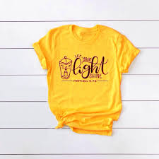 Christmas T Shirts Led Lights Us 7 9 15 Off Let You Light Shine T Shirt Funny Graphic Christmas Women Fashion Slogan Cotton Tees Soft Gift Girl Unisex Church Tops T Shirt In
