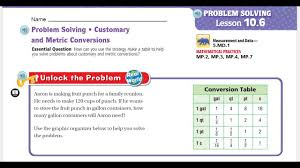 Go Math 5th Grade Lesson 10 6 Problem Solving Customary And Metric Conversions
