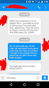 after tinder couple rejected each other they texted insults a text message conversation between a failed tinder couple