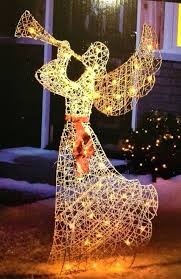 christmas angel yard decorations lighted elegant glittered angel outdoor yard art decoration lit with clear mini