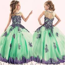 <b>New Arrival 2016 Little</b> Girls Pageant Dress Purple And Green Ball ...