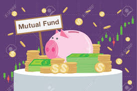 Mutual Fund Price Charts Wooden Sign Writing Mutual Funds Back Many Money And Piggy Bank