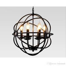 lighting restoration hardware vintage pendant lamp foucault s iron orb chandelier rustic iron rh loft light globe style 65cm 80cm 103cm large pendant light