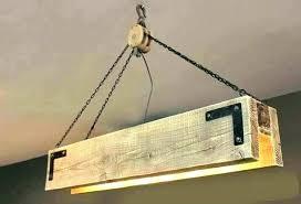 wooden beam light fixture wood pulley chandelier diy