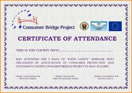 Certificate Of Attendance Seminar Best Certificate Format For
