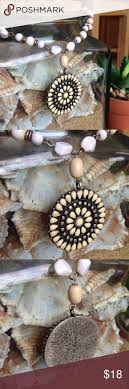 Stone Wheel Pendant Necklace <b>White stone</b> and sliver details on ...
