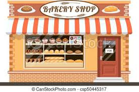 Bakery Shop Front Veiw Flat Icon Bakery Shop Building Facade With