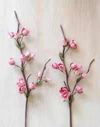 Paper Flower Stems Pink Paper Cherry Blossom Stem Handmade Paper Flower