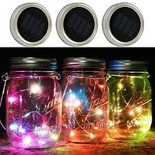 multi color outdoor solar jar design. 3 Pack - Mason Jar Lights With Solar , LED Color Fairy Lights, Outdoor String Of Multi Design J