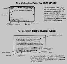 Toyota Trim Code Chart Toyota Vehicle Identification Number