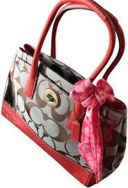 Coach Hampton Signature Medium Madeline Brown Khaki Geranium Canvas and  Leather Shoulder Bag - Tradesy