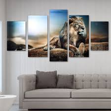 uk 5pcs sitting lion overlook paint canvas hang artistic picture room wall decor on 5 panel wall art uk with uk 5 panel sitting lion canvas painting wall hang picture home art