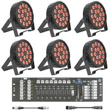 school stage lighting kit with 6 x slim led par 56 dmx controller cables