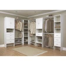 closet including white wood home depot organizers and light