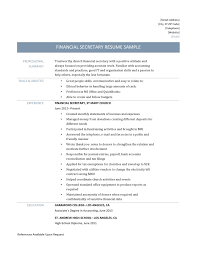 financial secretary resume sample and template financial secretary resume template