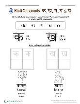 Hindi K Kha Ga Chart With Pictures Preschool Hindi Worksheets Education Com