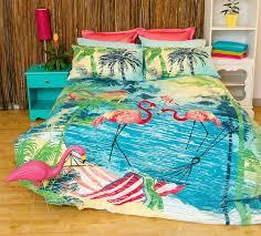 retro flamingo bird beach summer quilt doona cover set single double queen king in home garden bedding quilt covers