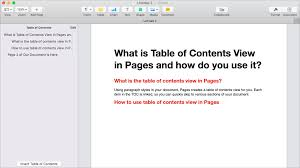Table Of Contents Chart What Is Table Of Contents View In Pages And How Do You Use It