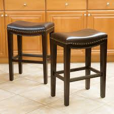 Jaeden Backless Brown Leather Counter Stools Set Of 2 Great