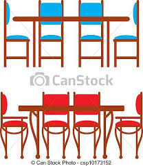 kitchen chair clipart. set of dining tables and chairs - csp10173152 kitchen chair clipart