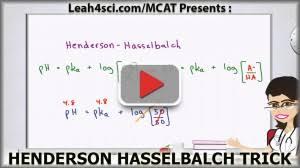 Henderson Hasselbalch Video Transcription Henderson Hasselbalch Mcat Trick For