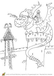 Coloriage Moyen Age Dragon Chateau Sur Hugolescargot Com