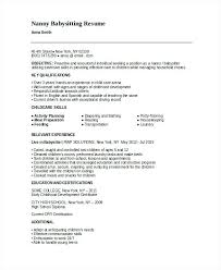 Objective For A Nanny Resume Baby Sitter Resume 100 Nanny Resume Templates Babysitter Resume 85